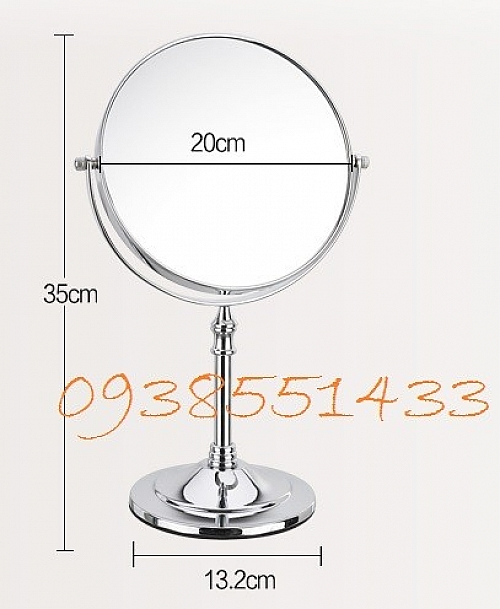 Gương Trang Điểm Inox 2 Mặt - Size Lớn