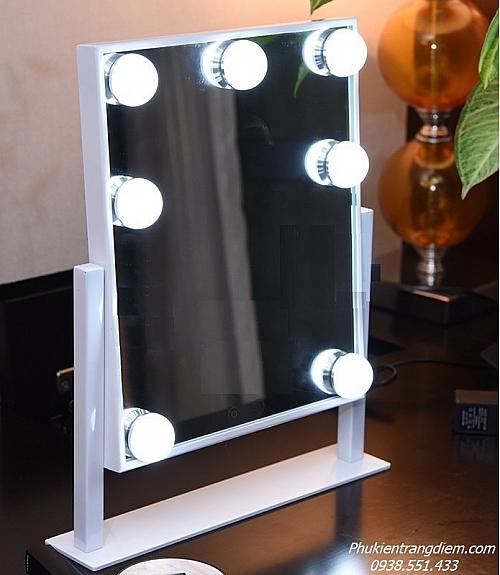 [Cao 36cm - 7 LED] Gương Trang Điểm Đèn LED Cảm Ứng Để Bàn