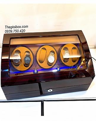 Tủ Hộp Lắc Đồng Hồ Cơ 6 Xoay + 7 Ngăn Tĩnh (Vân Gỗ - Da Nâu)
