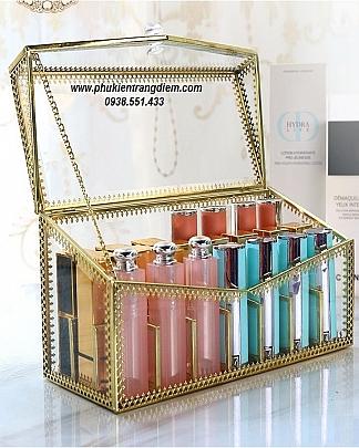 Hộp Đựng Son 24 Ngăn Viền Vàng Luxury