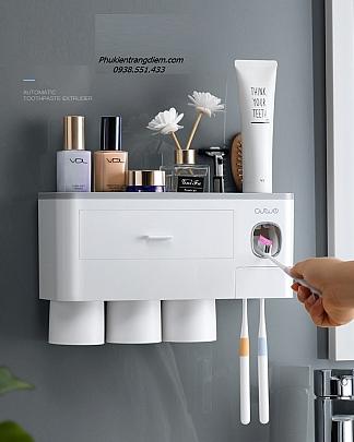 Kệ Để Nhà Tắm Treo Bàn Chải Nhả Kem Đánh Răng Tự Động - 3 Cốc