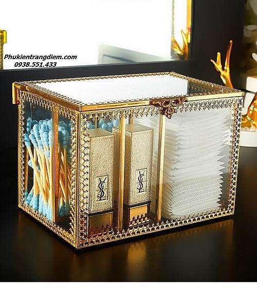 Hộp Đựng Bông Tẩy Trang & Tăm Bông Golden