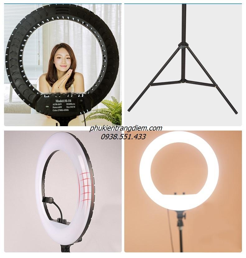 đèn livestream hỗ trợ sáng loại size lớn nhất 54cm giá rẻ gắn nhiều điện thoại