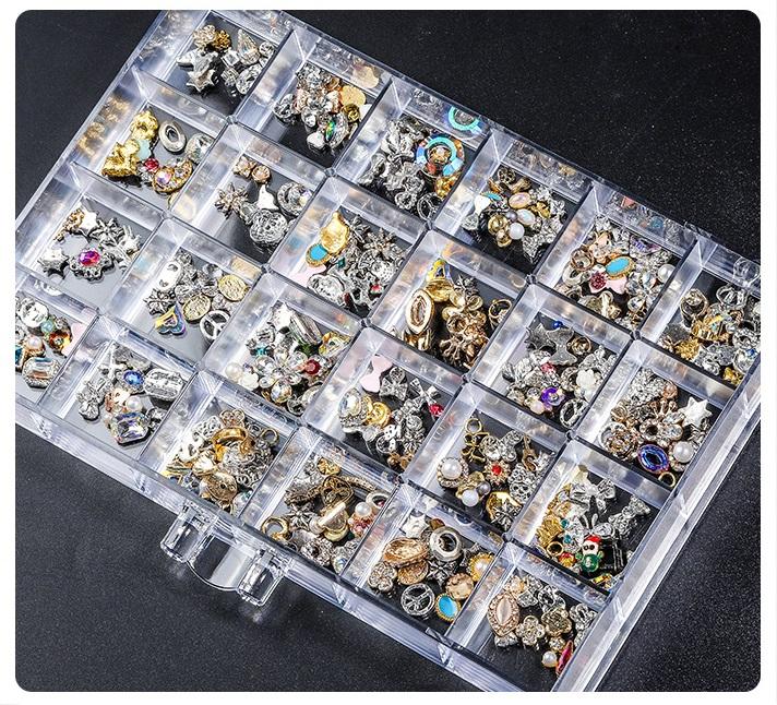 hộp khay đựng đá nail đính móng nhiều ngăn