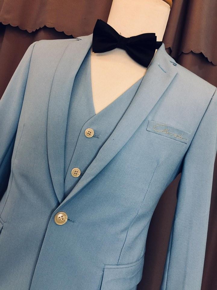 Vest cưới xanh nhạt