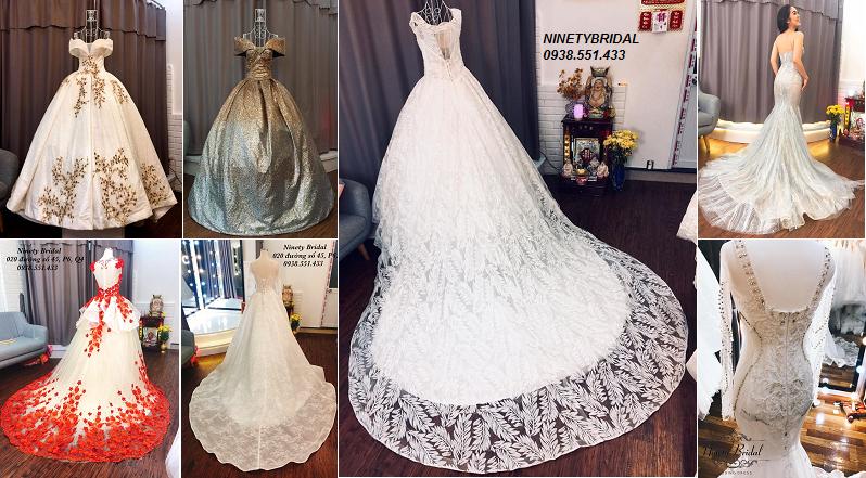 cho thuê váy cưới đuôi dài, váy cưới đuôi cá, áo dài cô dâu tại tphcm