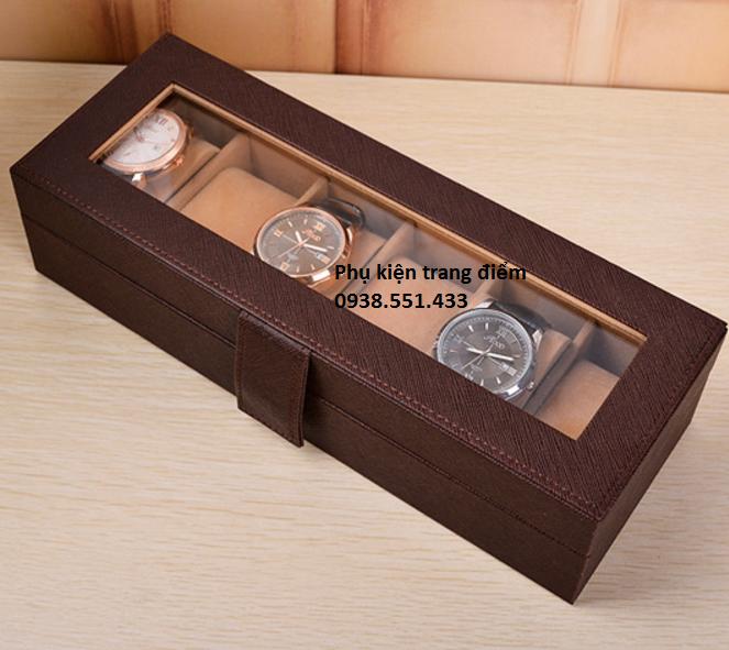 Hộp đồng hồ 6 cái sang trọng đẹp bằng da nâu