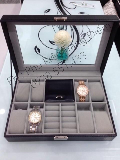 Hộp đựng đồng hồ kèm 2 ngăn đựng nhẫn và hộp trang sức cực tiện lợi