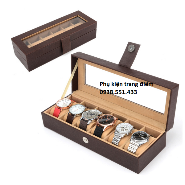 Hộp chứa đồng hồ da màu nâu chất lượng giá rẻ bền không hư tổn
