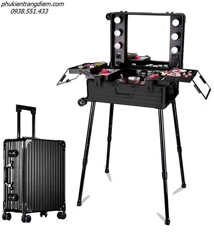 thùng cốp đựng trang điểm tạo thành bàn make up mini có gương đèn và chân