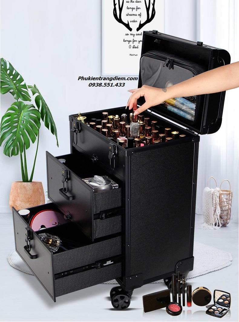 thùng cốp kéo đựng đồ làm nail phun xăm nối mi trang điểm 3 tầng cao cấp giá rẻ