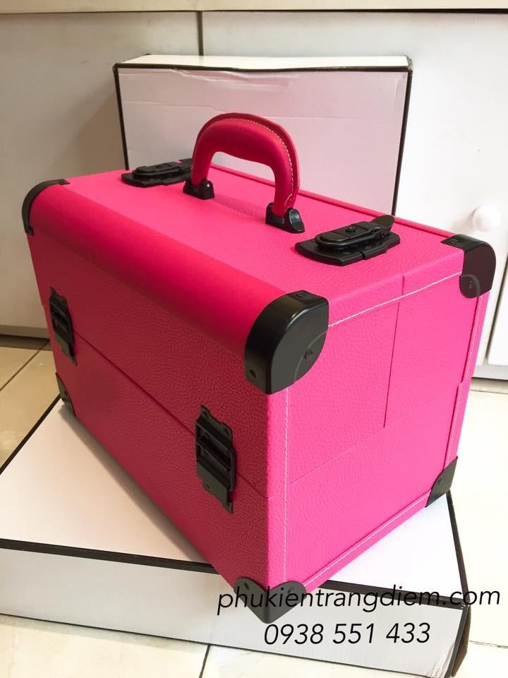 Cốp trang điểm màu hồng bằng da cao cấp tphcm