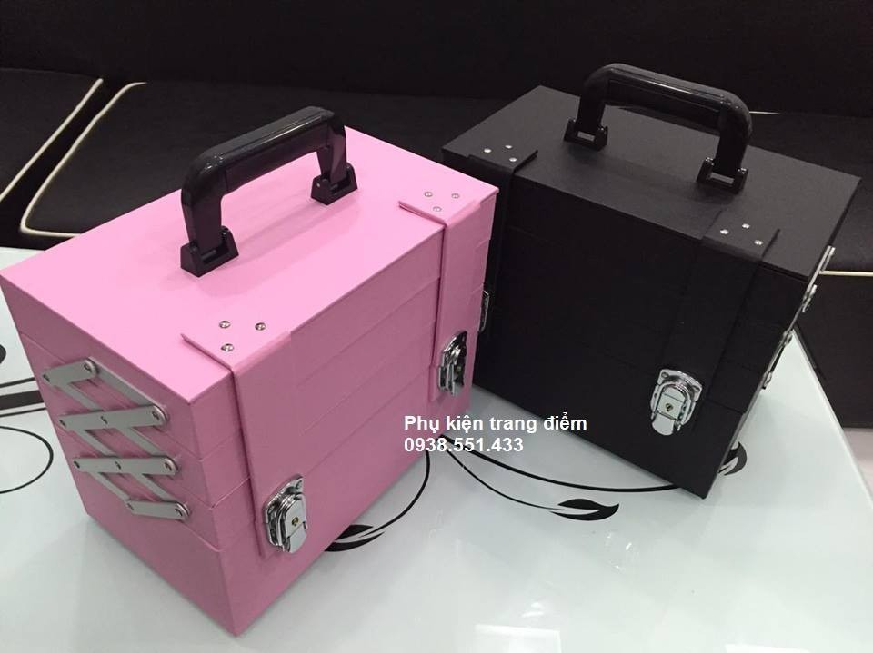cốp thùng make up trang điểm chuyên nghiệp Hàn Quốc màu hồng