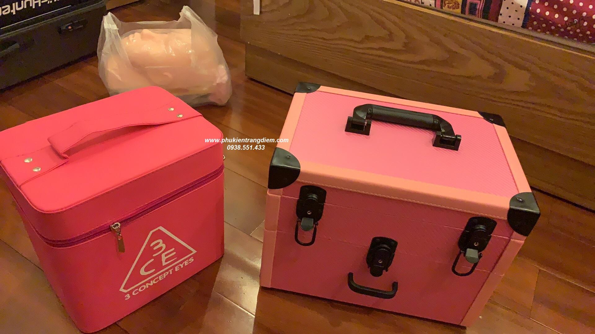 cốp thùng trang điểm phun xăm nối mi màu hồng