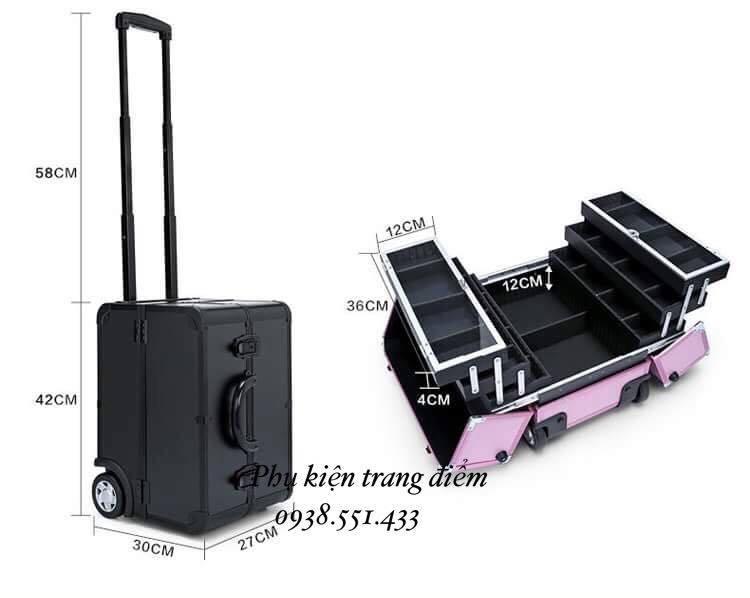 cốp thùng trang điểm vali kéo chuyên nghiệp cao cấp
