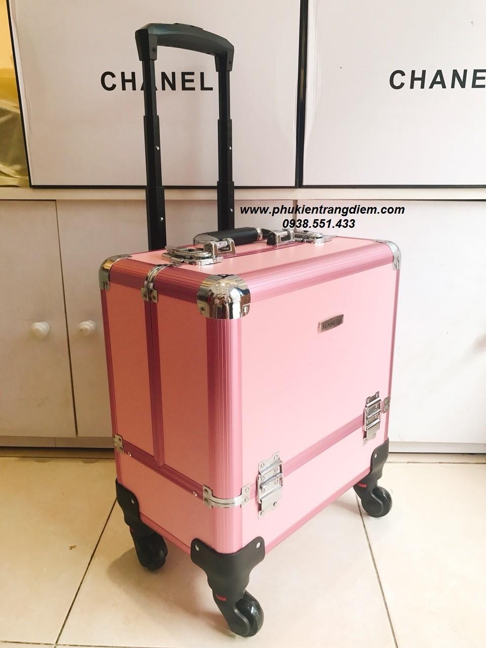 bán cốp trang điểm vali kéo màu hồng chuyên nghiệp cao cấp có bánh xe