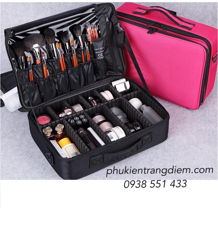 cốp vali trang điểm bằng vải có dây đeo