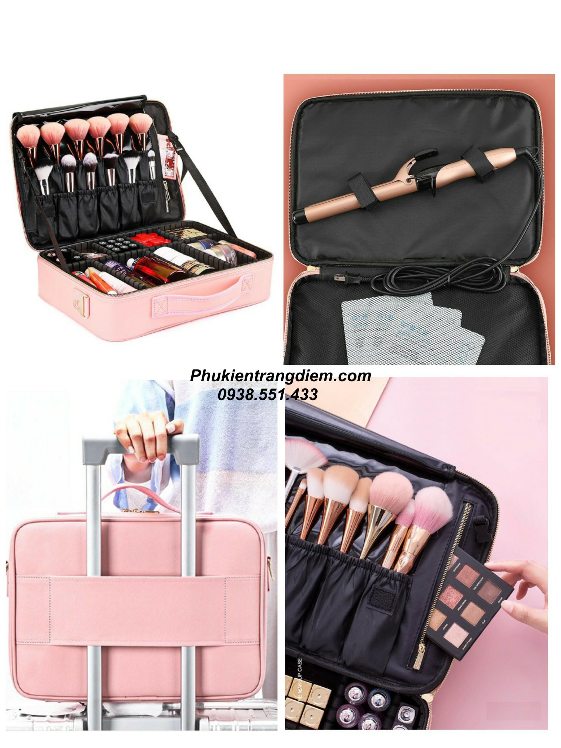 cốp vali trang điểm bằng da màu hồng make up cô dâu chuyên nghiệp