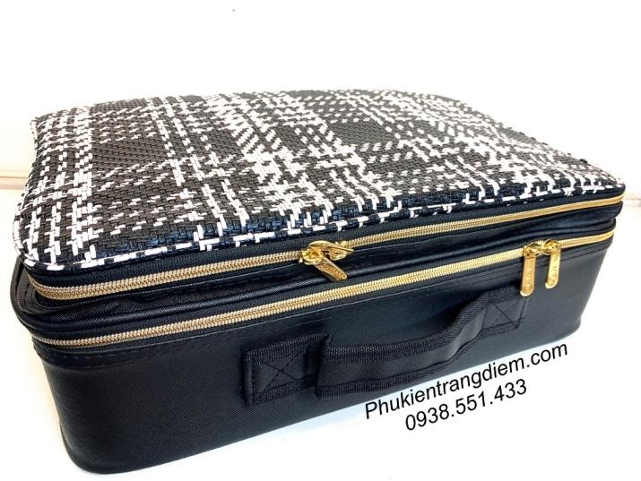 cốp vali da trang điểm màu sọc carô chống nước có ngăn đựng máy làm tóc