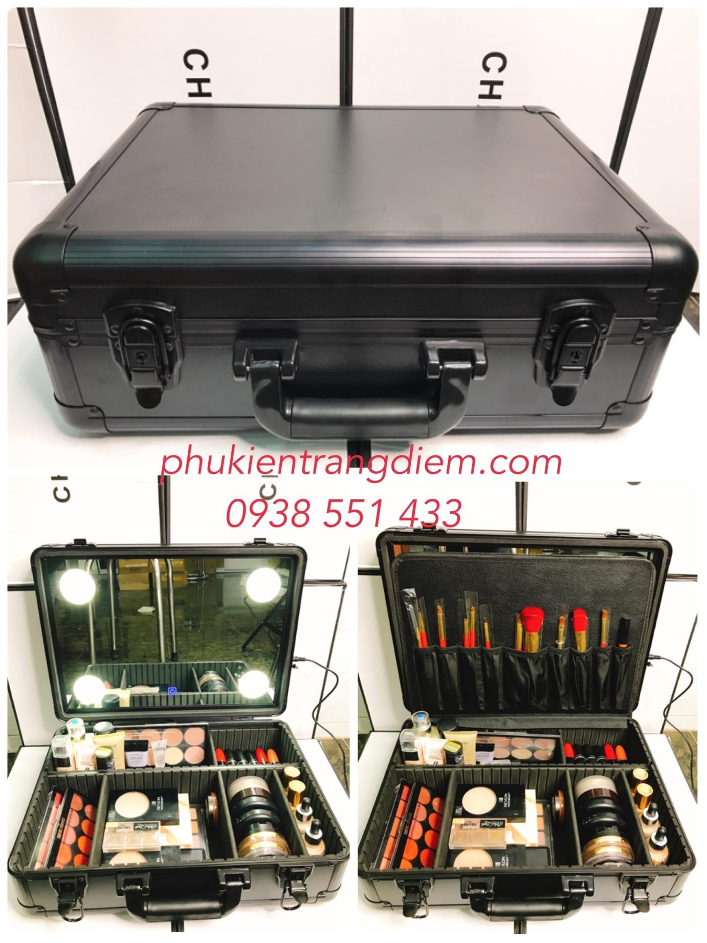 cốp vali thùng trang điểm xách tay có đèn và gương cao cấp