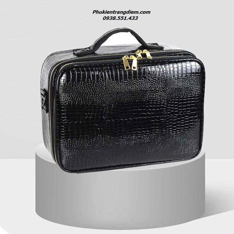 cốp vali trang điểm da cá sấu chống nước sang trọng