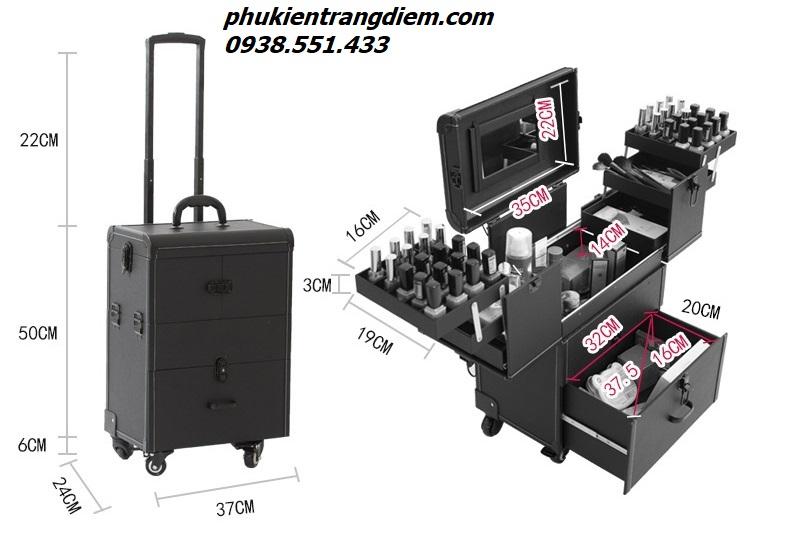 cốp thùng dạng vali kéo đựng đồ nail phun xăm nối mi trang điểm