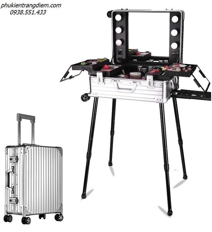 cốp thùng vali trang điểm có gương đèn vỏ full nhôm sang trọng
