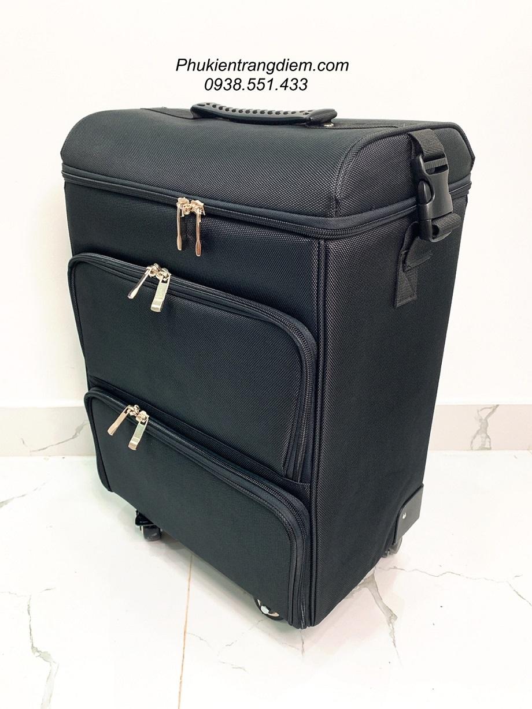thùng cốp vali vải đựng đồ phun xăm làm nail nối mi 3 tầng chuyên nghiệp