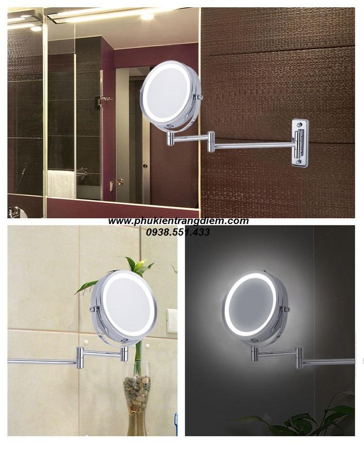 gương trang điểm treo tường phòng tắm khách sạn có đèn