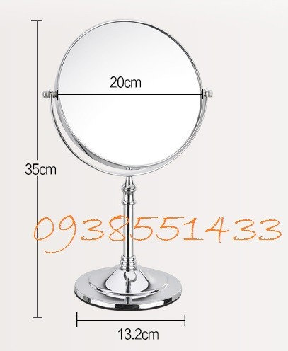 gương trang điểm để bàn phóng to 2 mặt bằng inox