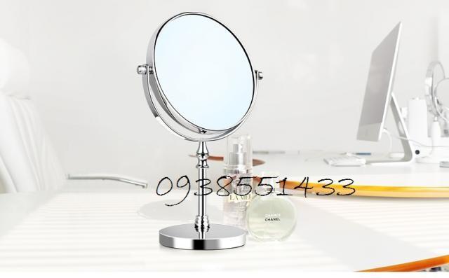 bán gương trang điểm inox 2 mặt phóng to để bàn