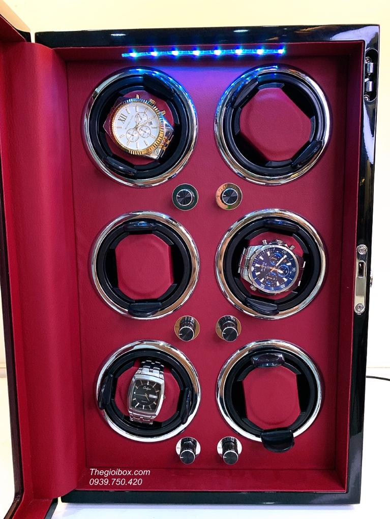 tủ hộp xoay đồng hồ cơ 6 ngăn bằng gỗ da đỏ cap cấp