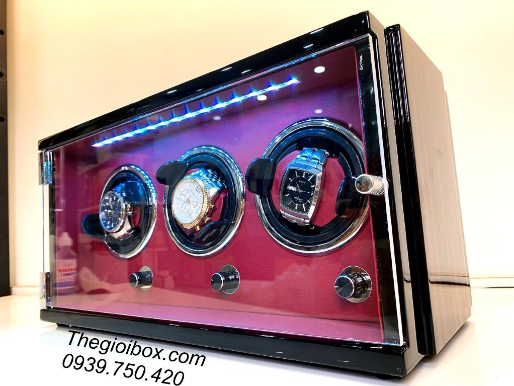 tủ hộp xoay đồng hồ cơ 3 chiếc bằng gỗ cao cấp, sang trọng, giá rẻ