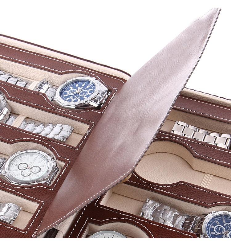 bóp túi da đựng đồng hồ mang đi du lịch 8 ngăn cao cấp