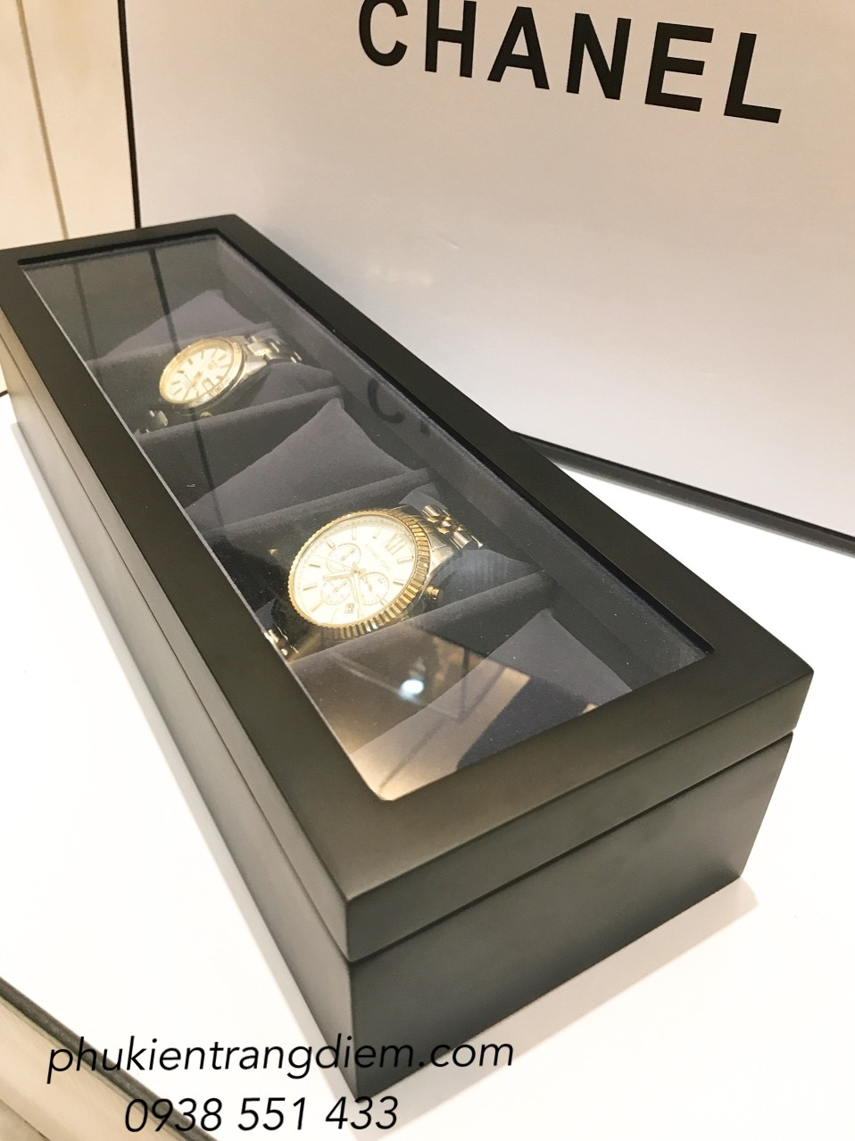 hộp đựng đồng hồ 5 cái bằng gỗ màu đen