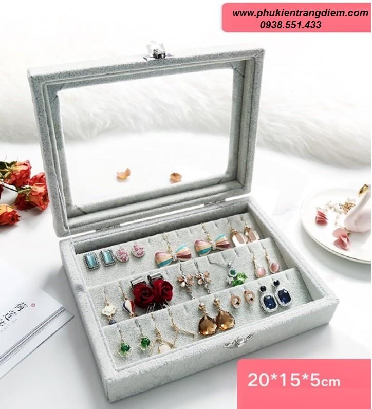 bán hộp đựng bông tai khuyên tai nắp kính màu xám giá rẻ