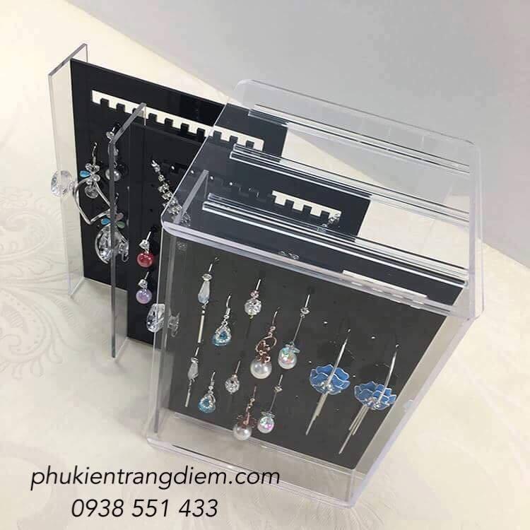 Tủ Hộp đựng bông tai khuyên tai trong suốt 3 ngăn giá rẻ tphcm