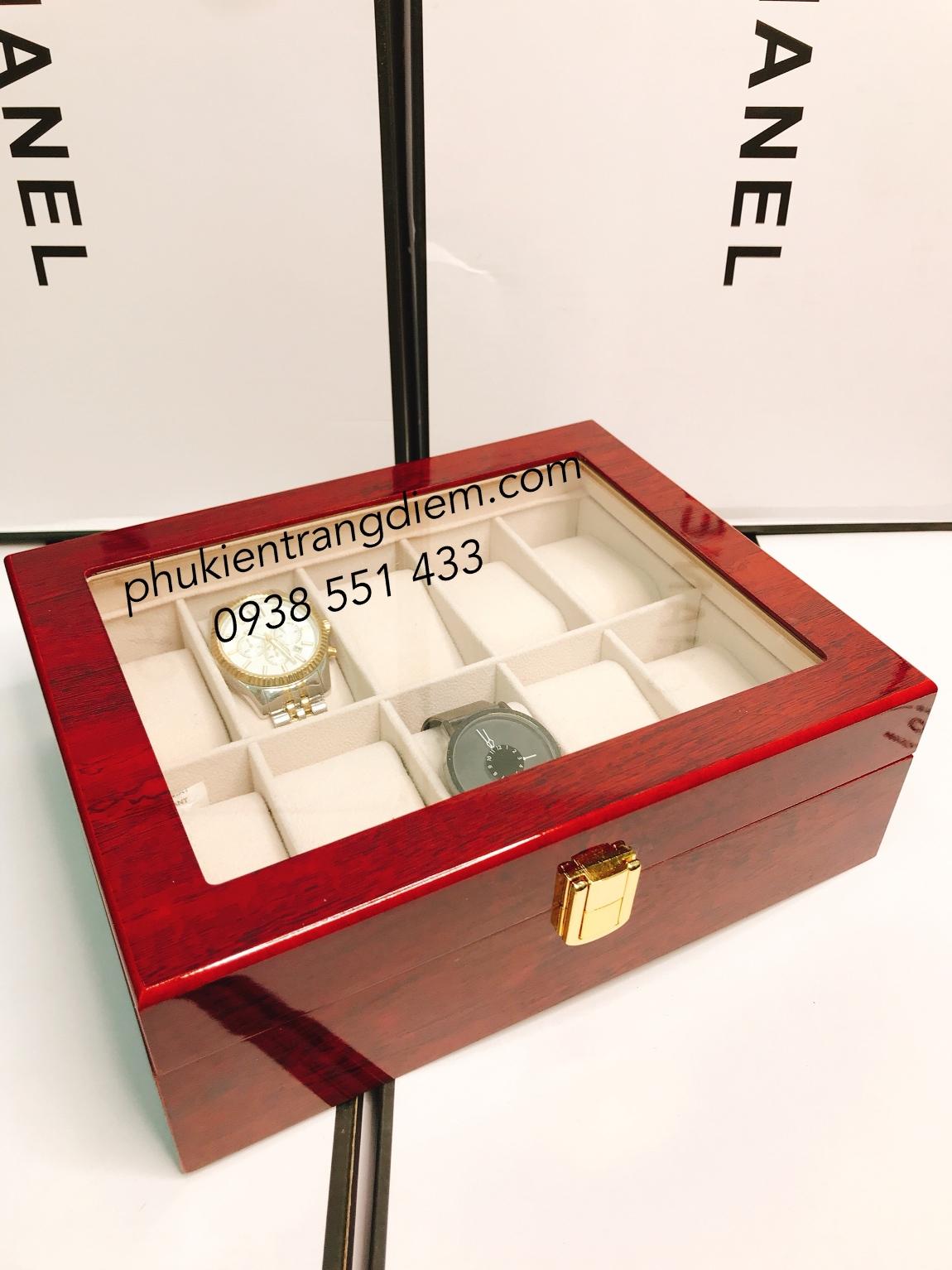 bán hộp đựng đồng hồ bằng gỗ 10 ngăn màu đỏ cao cấp