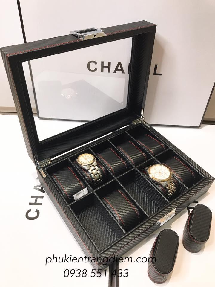 hộp đựng đồng hồ 10 chiếc bằng da vân cacbon cao cấp giá rẻ