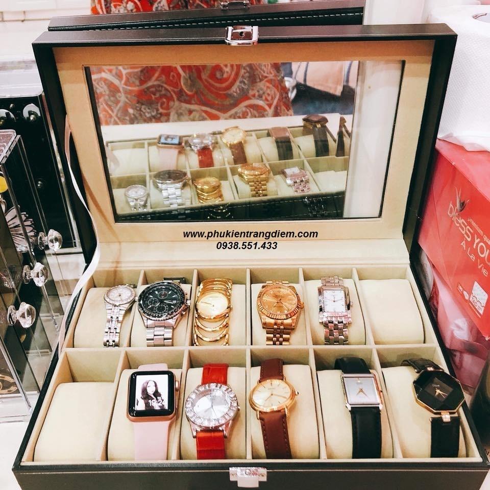 bán hộp đựng đồng hồ 12 ngăn bằng da giá rẻ