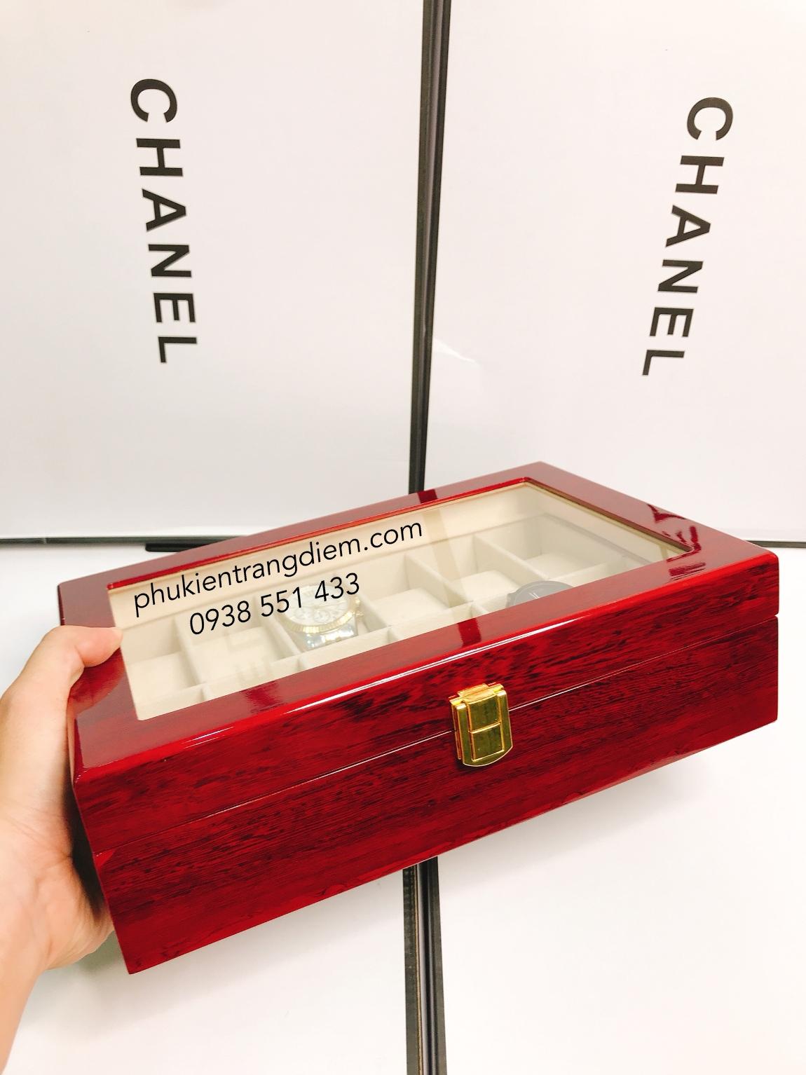 bán hộp đựng đồng hồ 12 ngăn bằng gỗ cao cấp