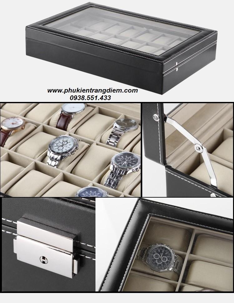bán hộp đựng đồng hồ 24 nhiều ngăn cao cấp giá rẻ