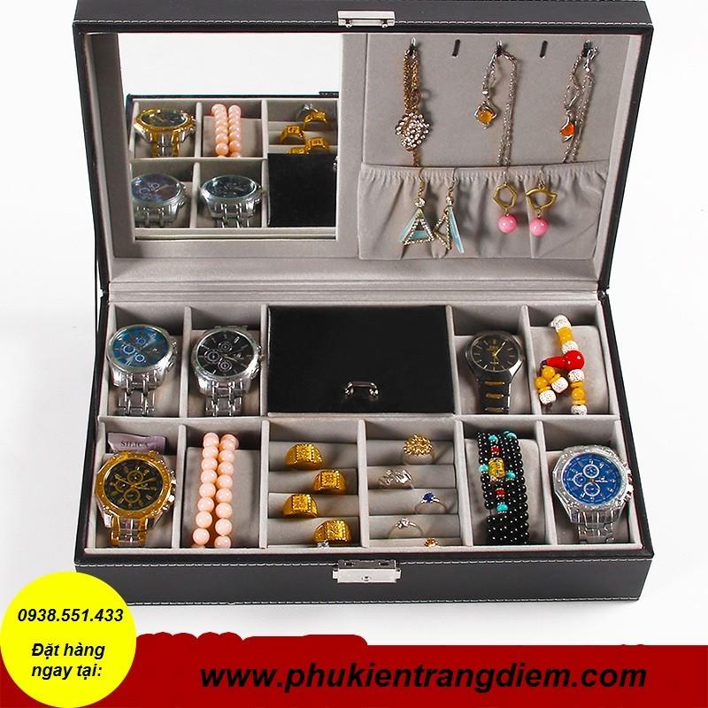 bán hộp đựng đồng hồ và trang sức có gương giá rẻ tphcm