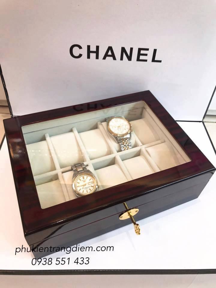 hộp đựng đồng hồ bằng gỗ đẹp cao cấp có khóa 10 chiếc