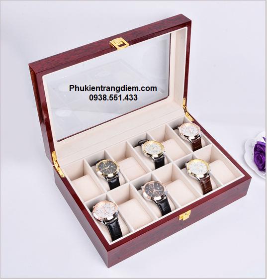 bán hộp đựng đồng hồ bằng gỗ màu nâu 12 cái