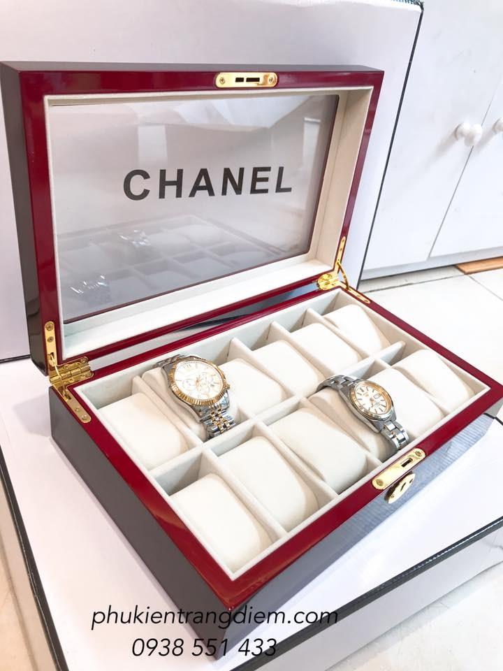 hộp đựng đồng hồ vỏ gỗ 12 ngăn có khóa cao cấp giá rẻ tphcm