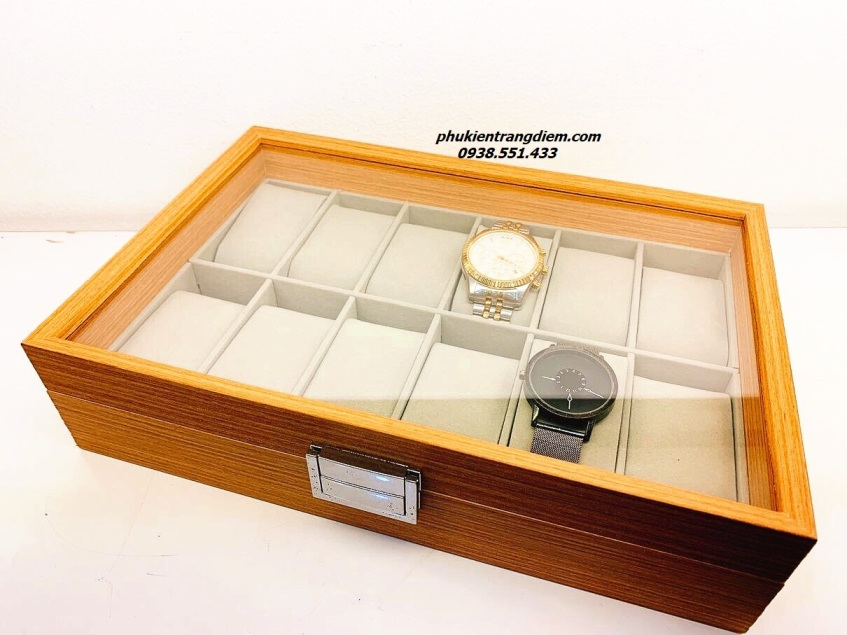 hộp gỗ đựng đồng hồ 12 chiếc bằng gỗ sần màu vàng giá rẻ