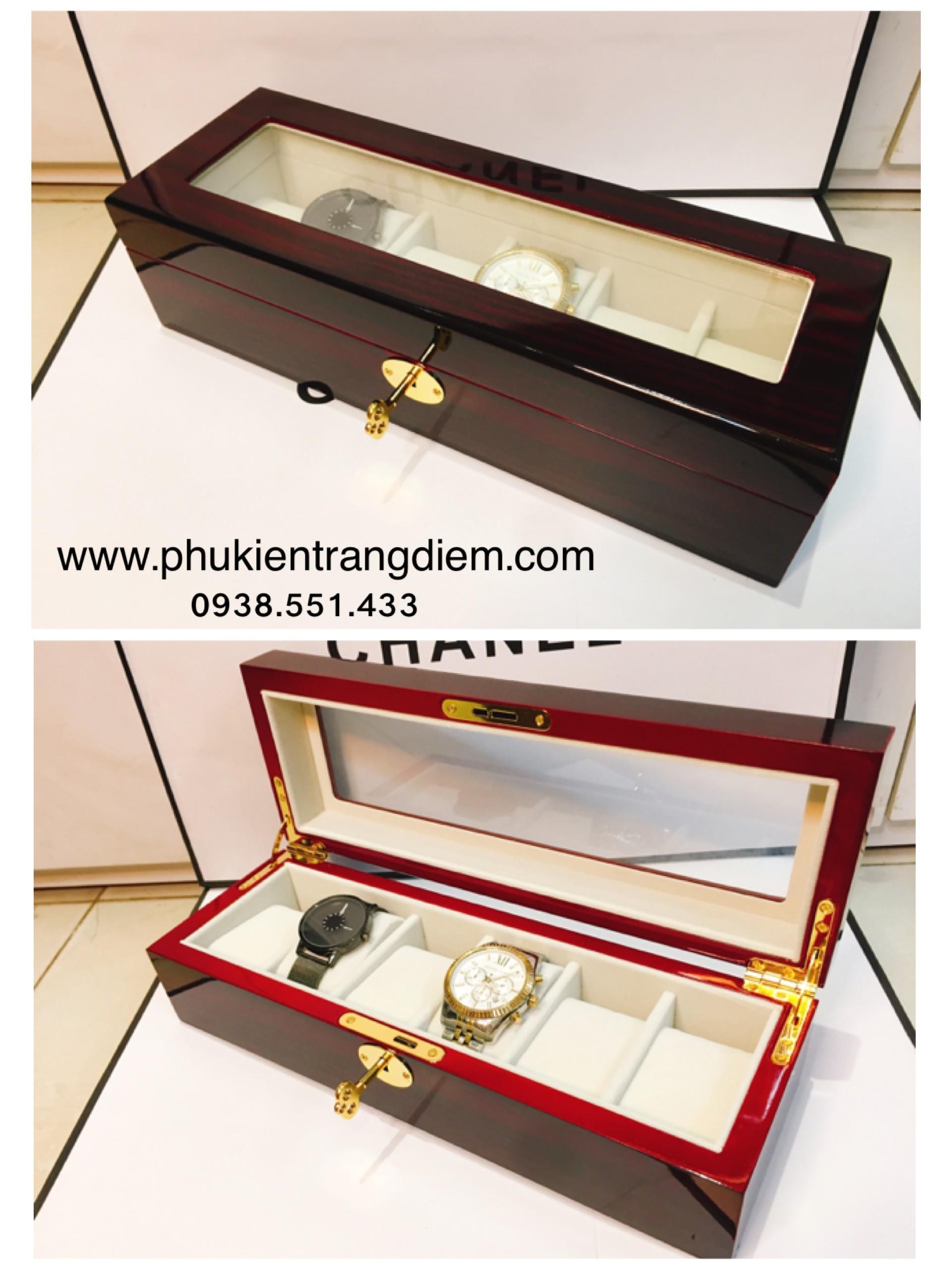 hộp đựng đồng hồ bằng gỗ 6 ngăn có ổ khóa cao cấp