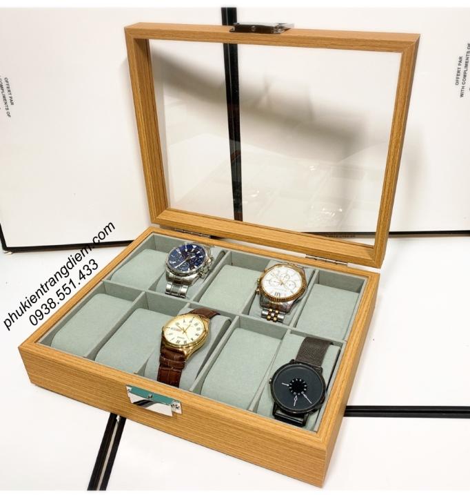 hộp đựng đồng hồ bằng gỗ 10 ngăn giá rẻ