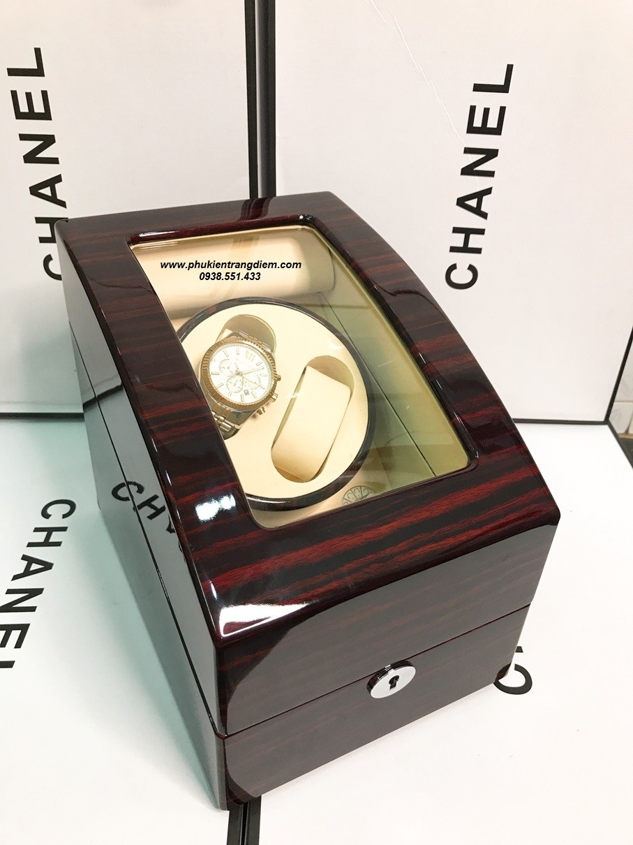 hộp đựng đồng hồ cơ xoay 2 ngăn bằng gỗ màu nâu